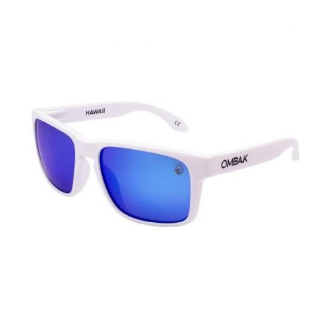 OMBAK HAWAII MATTE WHITE BLUE IRIDIUM POLARIZED BLUE EXTRA ARM