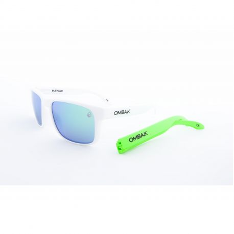 OMBAK HAWAII MATTE WHITE GREEN IRIDIUM POLARIZED GREEN EXTRA ARM