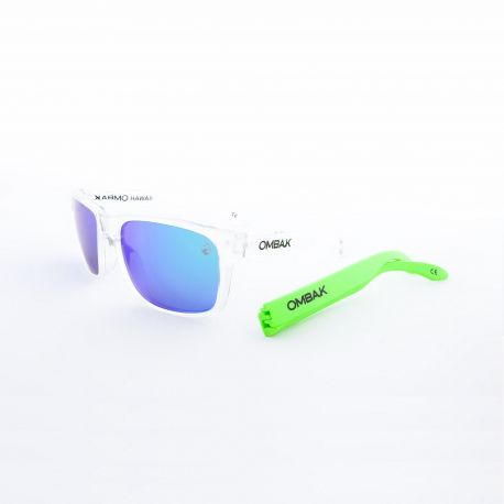 OMBAK HAWAII POLISHED CLEAR GREEN IRIDIUM POLARIZED GREEN EXTRA ARM