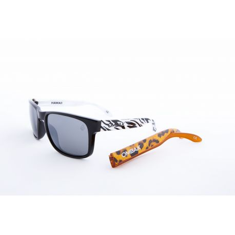 OMBAK HAWAII POLISHED BLACK AND ZEBRA GREY POLARIZED LEOPARD EXTRA ARM