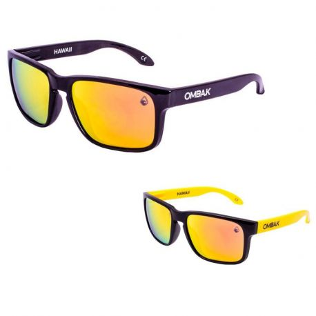 OMBAK HAWAII 01-001 MATTE BLACK/FIRE IRIDIUM POLARIZED/YELLOW EXTRA ARM